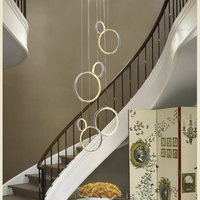 Circle Rings led crystal ceiling light hanging crystal droplight 36W pretty Corridor hotel Dining Living Room ceiling lamp|Ceiling Lights| |  -