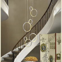 Circle Rings led crystal ceiling light hanging crystal droplight 36W pretty Corridor hotel Dining Living Room ceiling lamp