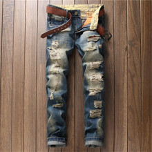 2016 European Mens Ripped Hole Jeans Pure Cotton Casual Straight Denim Pants P5093