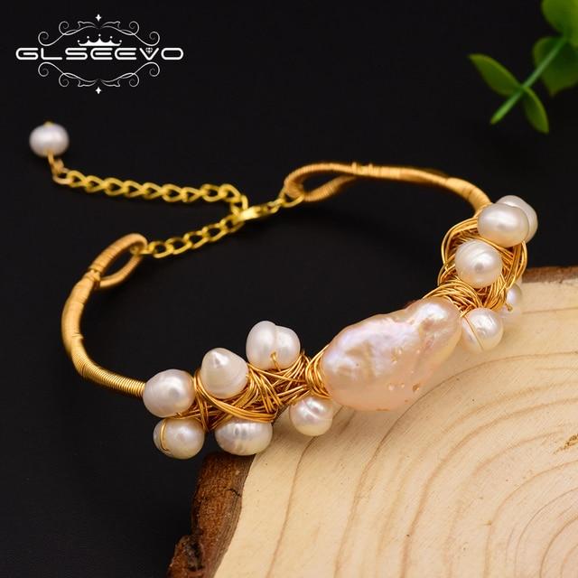 Фото glseevo натуральный пресноводный жемчужные браслеты барокко