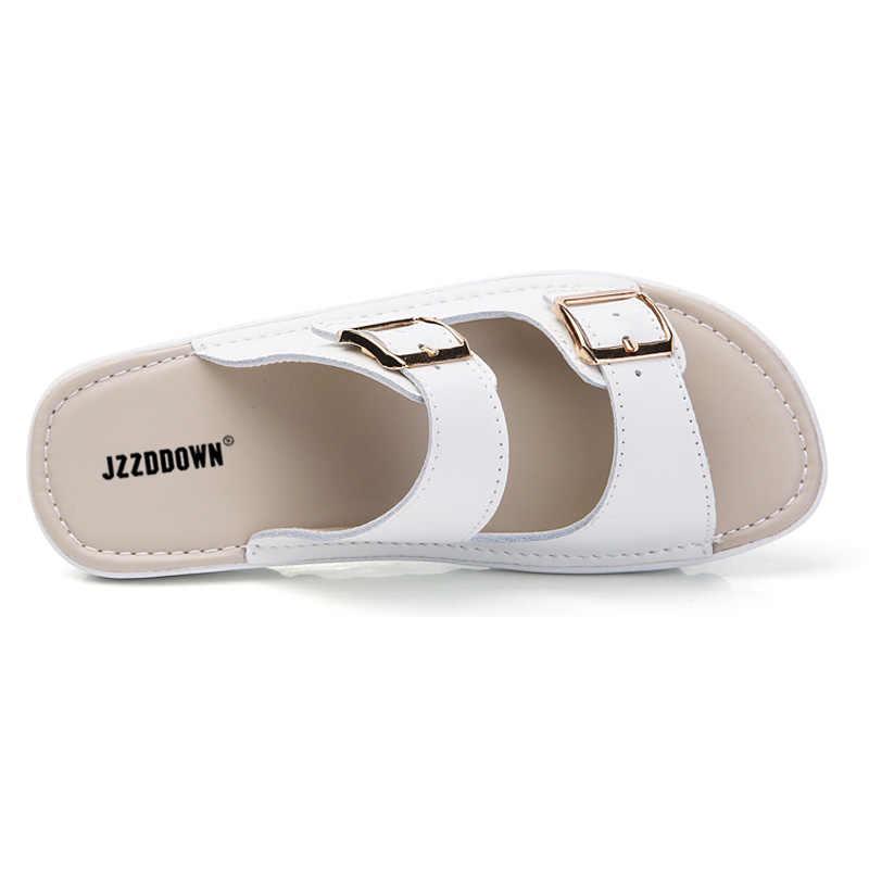 Echt Leer vrouwen vlakke Strand Sandalen Schoenen Dames Zomer Platform Slippers gladiator Casual Vrouwelijke Slippers Schoenen