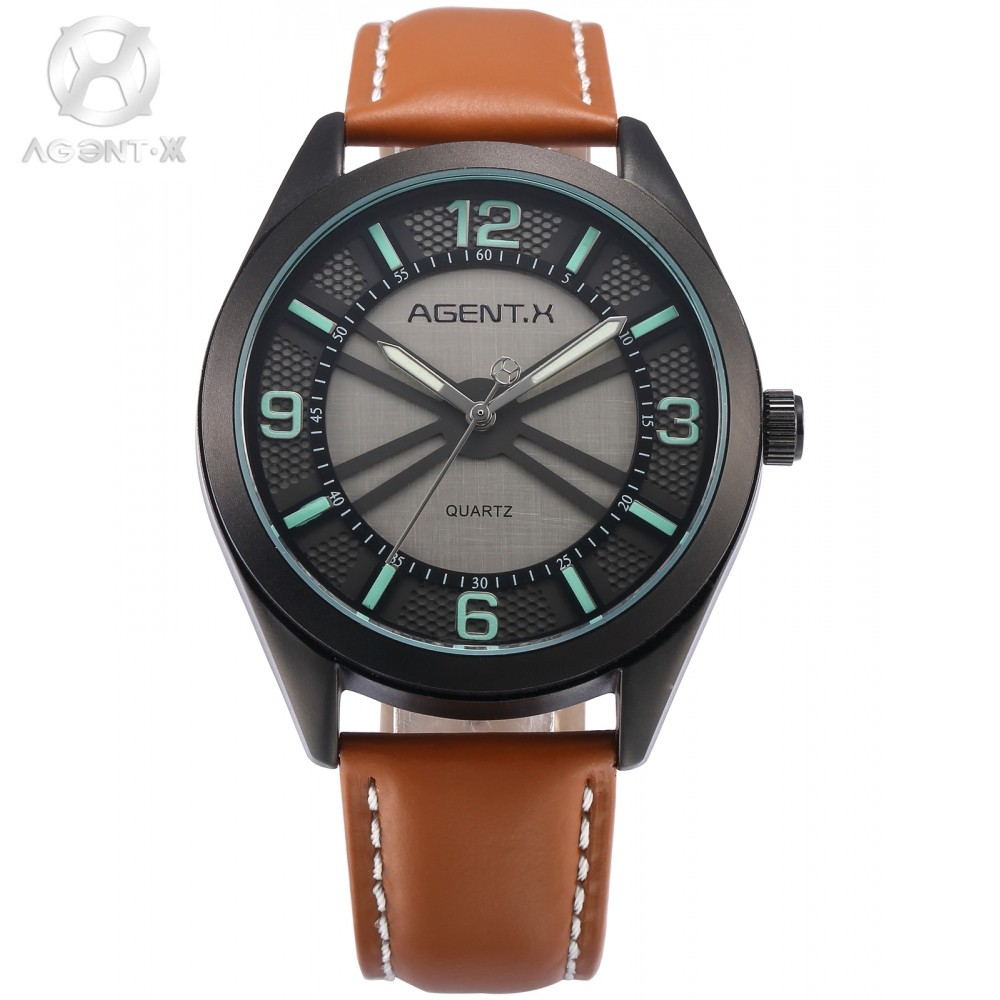 AGENTX Brand Men's Wrist Watches Japan Movement 3D Round Slim Dial Brown Leather Band Casual Fashion Quartz Timepiece / AGX143 la vitesse fatale agentx original casual business analog steel band silver case japan movement quartz mens wrist watch agx094