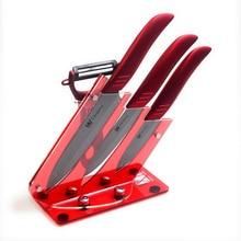 Rot Multifunktionale Küchenmesser Halter Gute Grade 3 Stück Keramik Messer Set Schwarz Balde Rot Griff Kochen Messer + Schäler