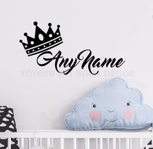 Personalized Name Princess Crown Wall Sticker Customade Prince Bedroom Decal Art Kids Room Decor Mural AY1169