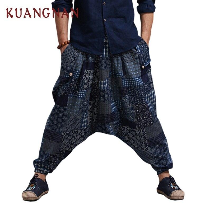 KUANGNAN, хлопковые льняные брюки, мужские брюки, хип-хоп, штаны для бега, мужские, один размер, спортивные штаны, японские джоггеры, уличная одежда, мужские штаны - Цвет: Three