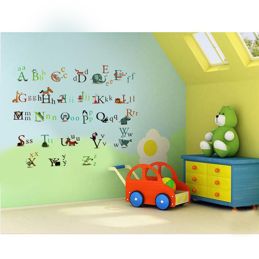 Cartoon animals 26 english alphabet educational wall sticker pvc cartoon animals 26 english alphabet educational wall sticker pvc removable decal home children kids nursery room diy decorations in wall stickers from home amipublicfo Gallery