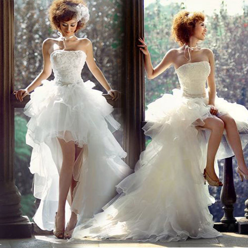 Best selling fashionable short front with trailing wedding for Best selling wedding dresses