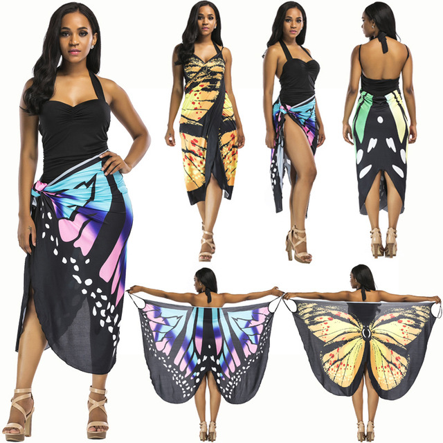 Erfly Pareo Bathing Suit Women Beach Skirt Cover Up Swimsuit Ups Sarongs Summer