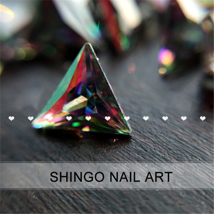 10pcs Black-Colorful AB Color Grade AAA True Zircon Pointed Back Rhinestone for Nails 3D Nail Art Decoration Glitter Crystal