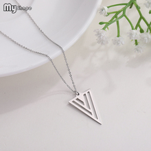 My Shape Personalized Inverted Triangle Pendant Stainless Steel Girls Necklace Lovers Gifts