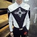 Floral moda hombre Slim Fit ocasional camisa entallada bordado impresión de la manga de diseño Vintage hombre camisas de vestir camisa masculina