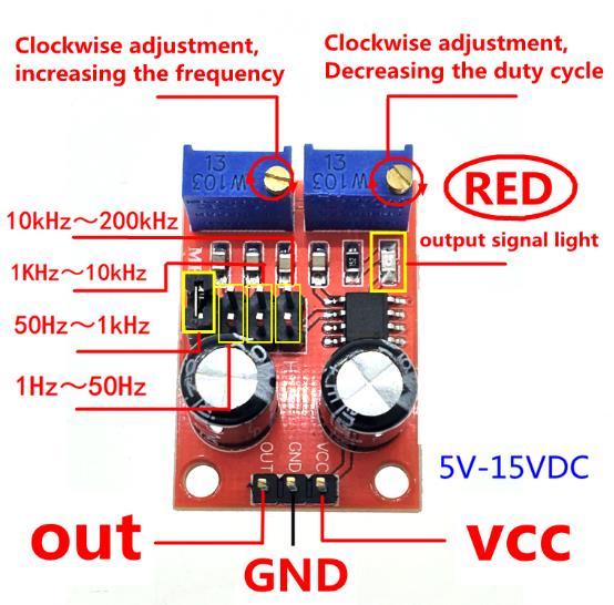 NE555 Pulse Frequency Duty Gap Adjustable Module Square Wave Rectangular Wave Signal Generator Stepper Motor Drive DIY RC Car