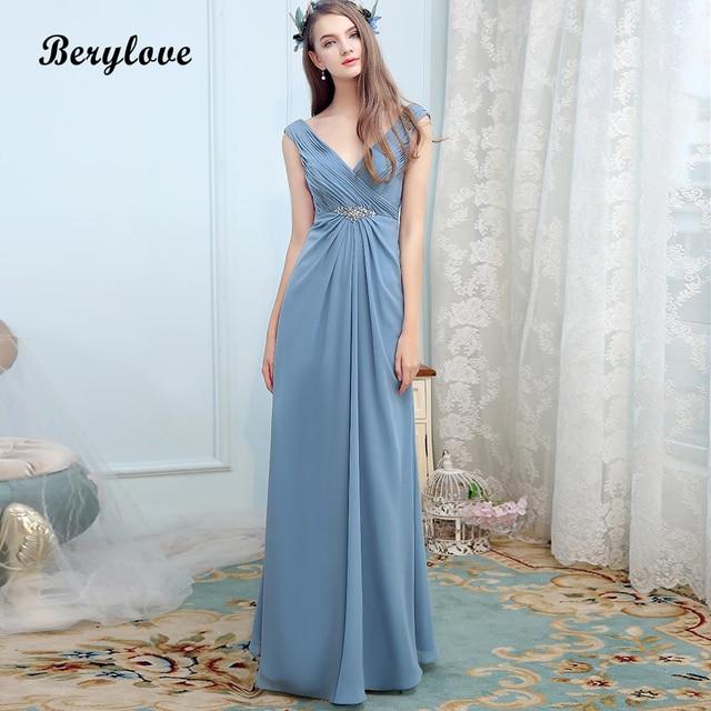 938288456e BeryLove Long Dusty Blue Dress for Bridesmaid V Neck Beach Wedding Party Dresses  2018 Cheap Women