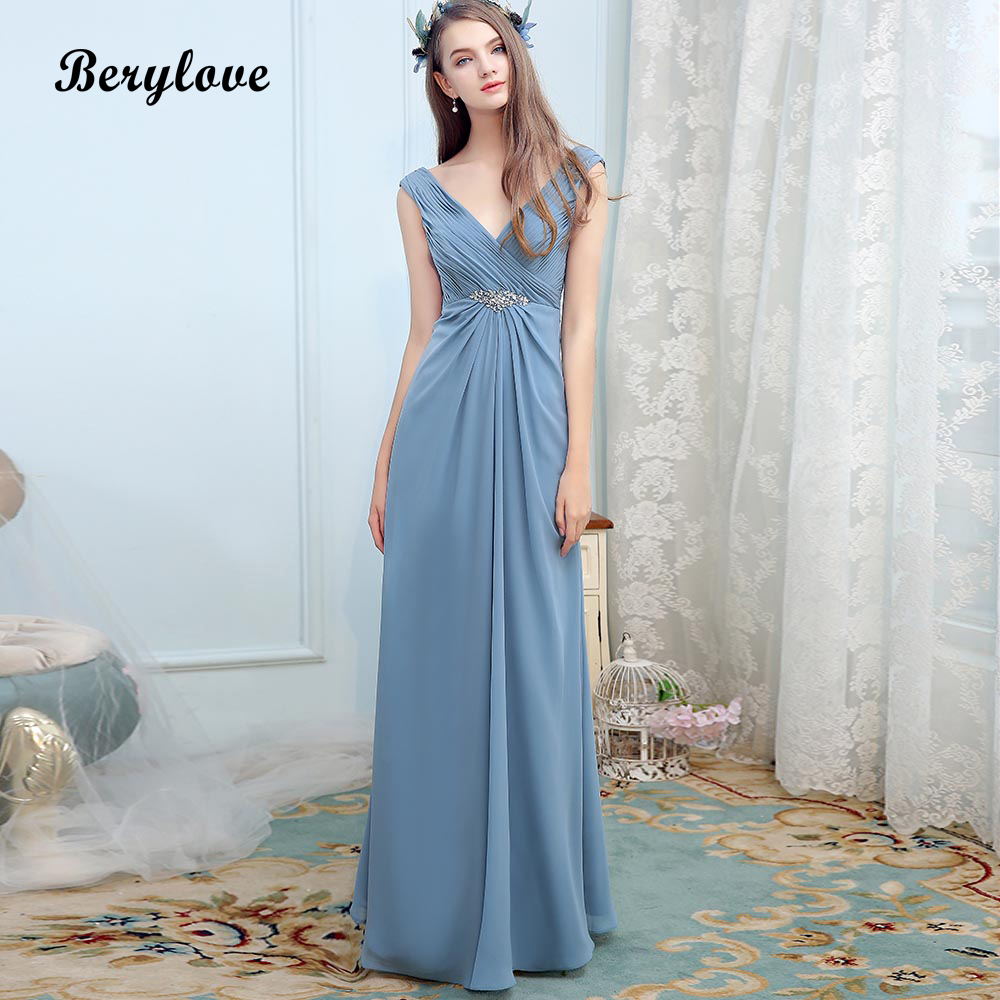 BeryLove Long Dusty Blue   Dress   for   Bridesmaid   V Neck Beach Wedding Party   Dresses   2018 Cheap Women Formal   Bridesmaid     Dress
