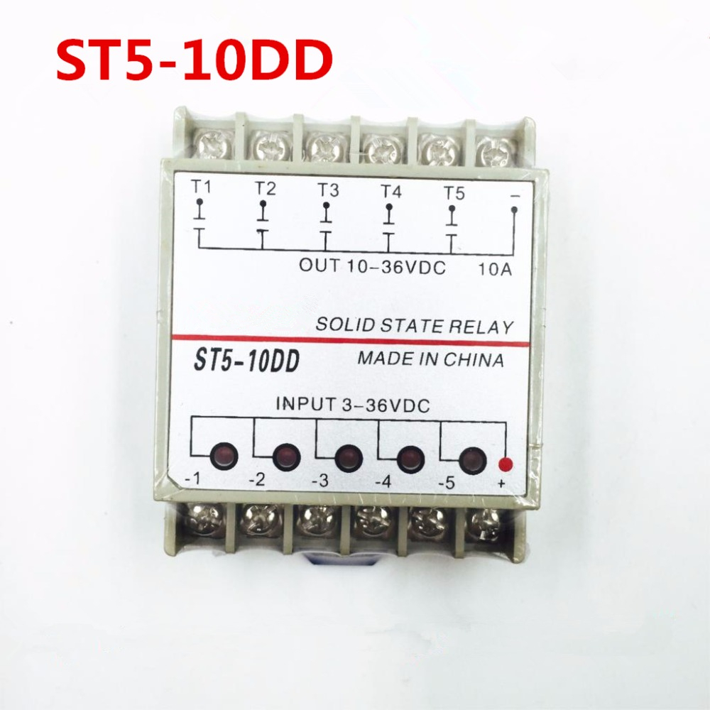 rail mounting PN5-10DA 5 Channel SSR quintuplicate five input 3~32VDC output 24~380VAC single phase DC solid state relay цены