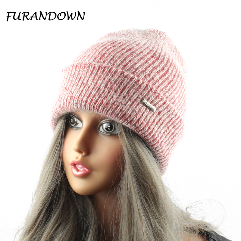 FURANDOWN Rabbit Fur Knitted Hat Cap Kvinnor Vinter Warm Wool Beanie Hat Utomhus Sport Skullies Mössor Gorro