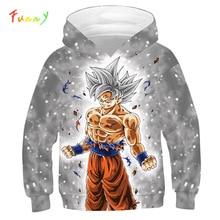 드래곤 볼 까마귀 캐주얼 애니메이션 Goku 인쇄 빅 걸스 소년 후드 키즈 가을 아우터 긴 소매 아동 풀오버 스웨터