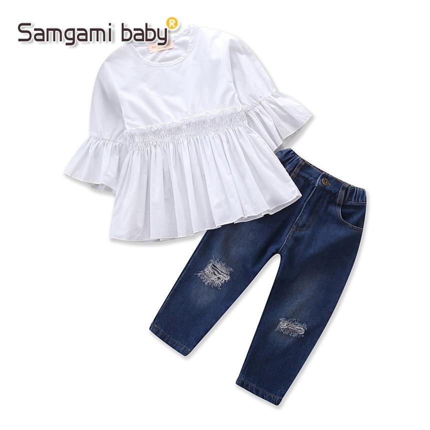 SAMGAMI BÉBÉ Fille Vêtements Ensembles Pur Blanc Tops Enfants Cassé trou Pantalon Jeans Enfants 2 pcs Casual Sport Costumes Filles Vêtements ensemble