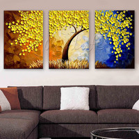 3 Pieces Panel Wall Art Palette Knife tree, Hand Painted Flower Oil painting On CanvasPainting For Living Room