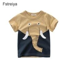 Baby boys tiny Cotton T shirt Fstreiya 2019 Cartoon lion elephant and giraffe summer clothes kids animal print tshirt girl tops