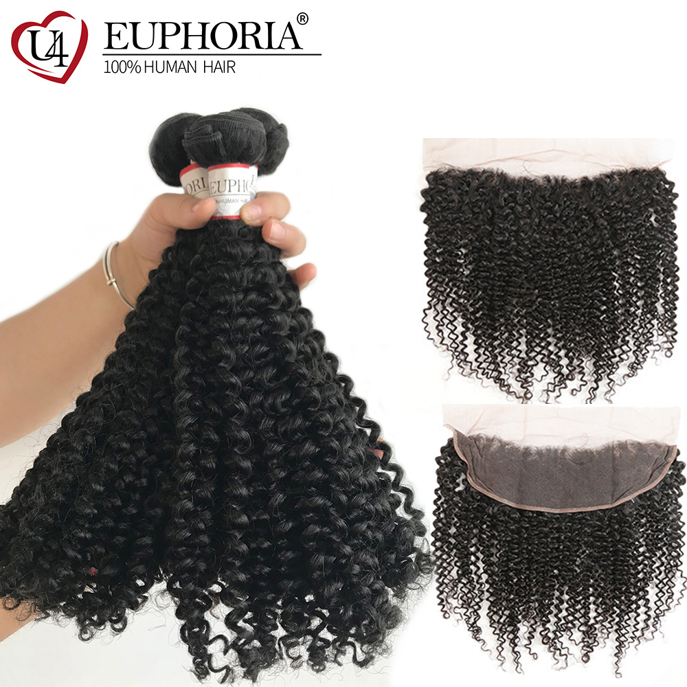 Natural Color Human Hair Bundles With Lace Frontal 13x4 Euphoria Brazilian Kinky Curly Remy Bundle Hair Weaving With Closure