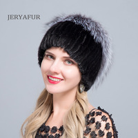 JERYAFUR New Fashion Winter Hats For Women Real Mink Fur Hat Female Patchwork Fox Fur Mix Color Internal Knitting Beanies Warm