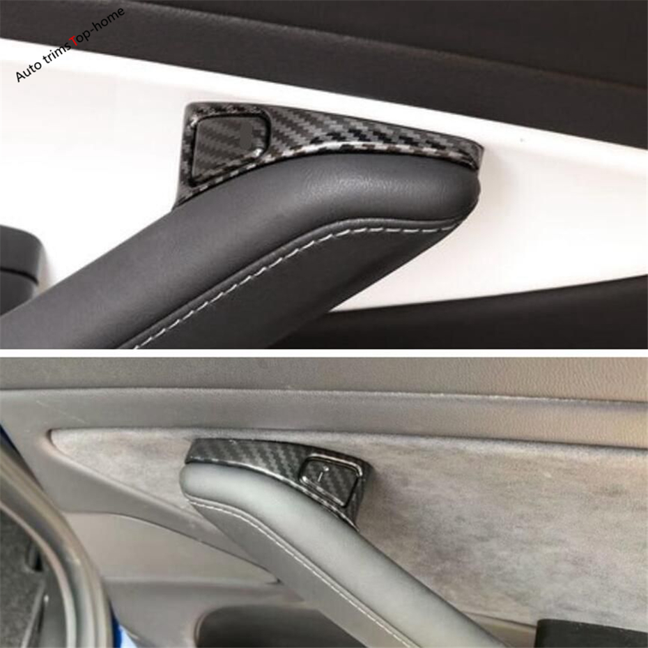 Yimaautotrims Inner Door Lock Button Switch Frame Cover Trim Interior Mouldings Fit For Tesla Model 3 2018 2019 Carbon Fiber ABS