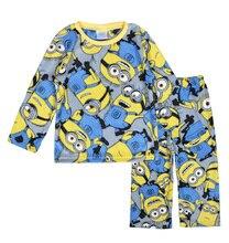 Мальчиков пижамы с длинным рукавом мультфильм мальчик пижамы пижамы 2016 осень зима теплая с длинным рукавом дети пижамы для мальчиков одежда yellowc