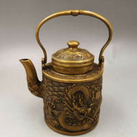 Chinese Antique Old copper hand made wealth lucky Dragon teapot flagon