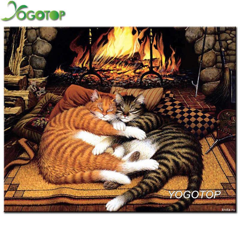 Yogotop Алмазная вышивка Спящая кошка узор DIY 5D алмазная картина вышивка крестиком полный рукоделие Стразы картина ZB369