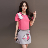 Film Summer New Swan Embroidery Brief Paragraph Coat The A Line Skirt Suit Skirt Female