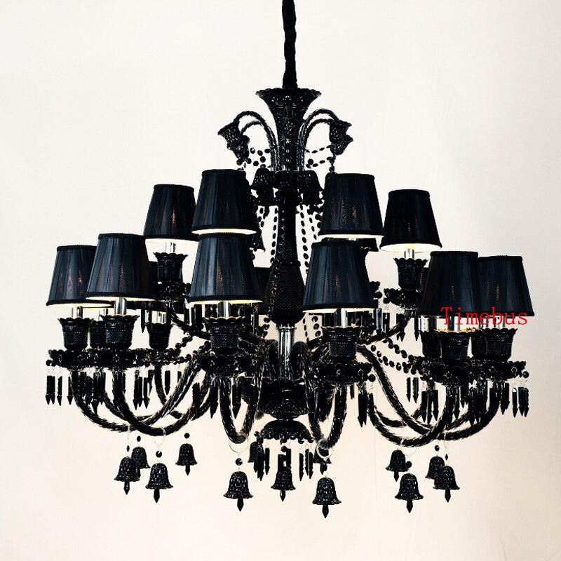 Lustre en cristal noir pour lampes de salon lampes de chambre à coucher modernes rétro Restaurant bougie éclairage lustre pour cuisine