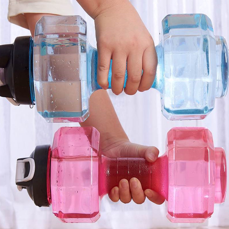 2.5L Dumbbells Shaped Plastic Big Large Capacity Gym Sports Water Outdoor Fitness Bicycle Bike Camping Cycling Kettle New