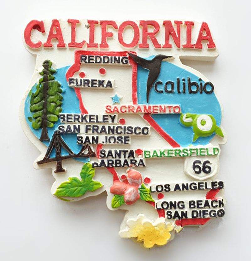 California Administrative Map Hollywood Landmarks D Fridge - Magnetic map of us