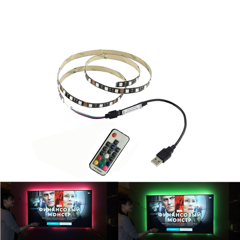 <font><b>USB</b></font> DC5V <font><b>LED</b></font> <font><b>strip</b></font> <font><b>5050</b></font> RGB Clear Flexible 50CM 1M 2M 3M 4M 5M TV / PC / Laptop background Lighting RGB <font><b>LED</b></font> <font><b>strip</b></font> image