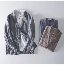 дешево!  Китайский льняной пиджак мужской пиджак Slim Fit коричневый синий хлопок мужские пиджаки дизайнер  Лучш