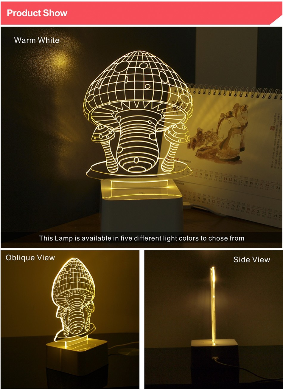 Novelty Holiday Gifts Colorful Mushroom Lights 3D Lamp LED Night Light with Touch Lamp Base (2)