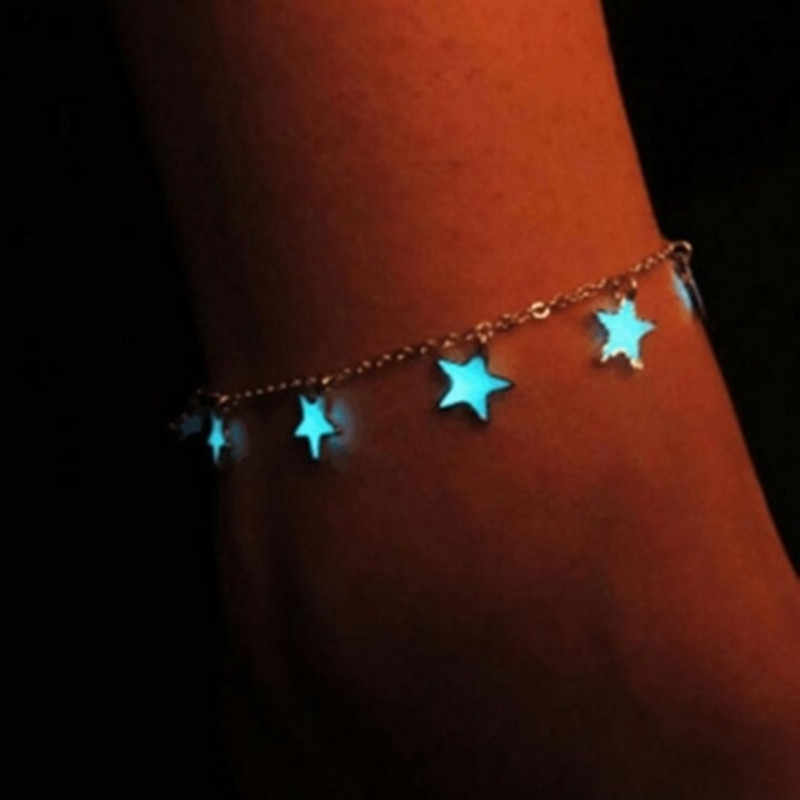 fashion Summer Foot Jewelry Women Glow In The Dark Star Chain Anklet  Luminous Ankle Bracelet Barefoot Sandal Beach Jewelry