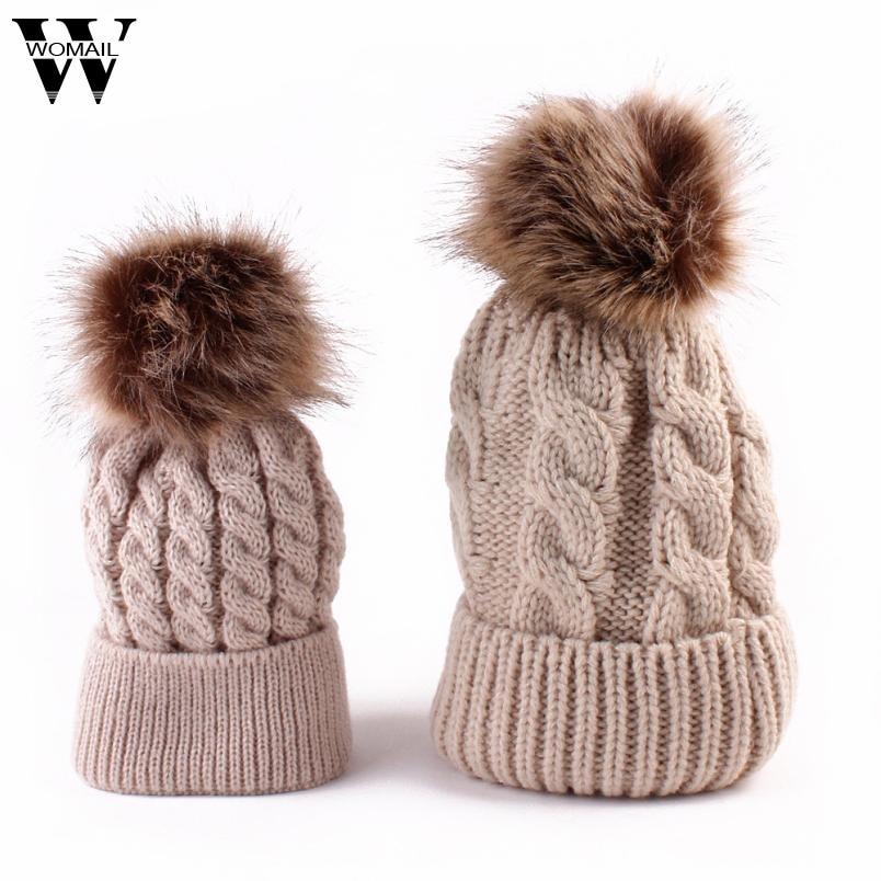 2 unids invierno mamá y de la hija punto Beanie Cap mantener caliente Faux  fur hats gorro chapeu Amazing SEP b6e25e304bd