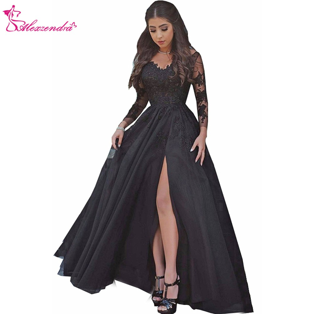 Alexzendra Black Long Formal   Evening     Dress   Scoop Neck Applique Long Sleeves Prom   Dresses   Plus Size Special Party   Dresses