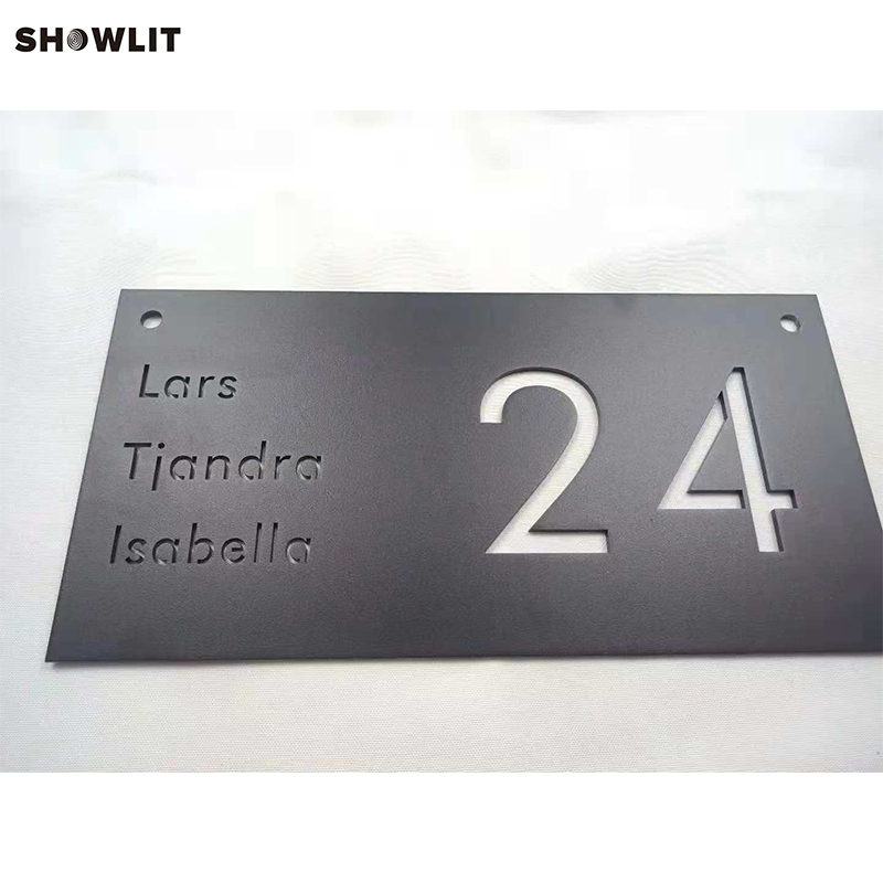 Powder Coated Black House Name Plates With House Number