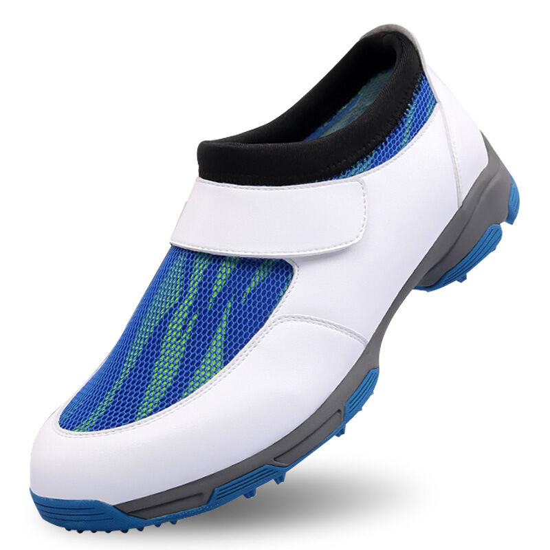 2017 New Men S Golf Shoe Microfiber Leather Shoes EVA Midsole Breathable Mesh White Blue