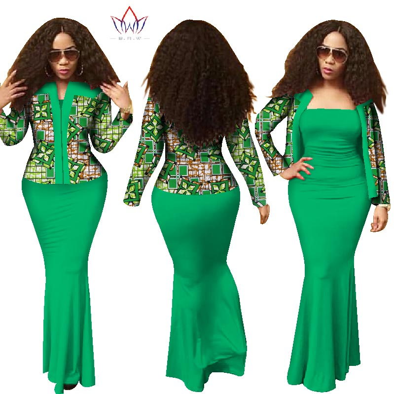 African 2 Pieces Set for Women 2019 New Style Dashiki Crop Top Long Dress Suits Plus Size Traditional Clothing WY1313