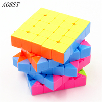 AOSST 5x5x5 Fluorescent Six Colors Magic Cube Classic Spinner Cubes Speed Cubo Square Puzzle Rainbow