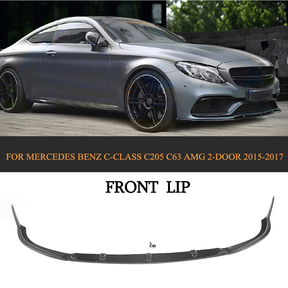 C Class Carbon fiber Car Front Bumper Lip Spoiler for Mercedes-Benz C205 C63 AMG Coupe 2 Door 2015-2017 цена