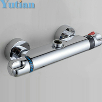 Free Shipping Wall Mounted Two Handle Thermostatic Shower Faucet Thermostatic Mixer Shower Taps Chrome Finish YT