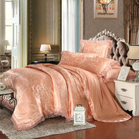 Noble European Style Leaves Jade Duvet Cover Set Lace Border Linens Silk Cotton Jacquard Queen King
