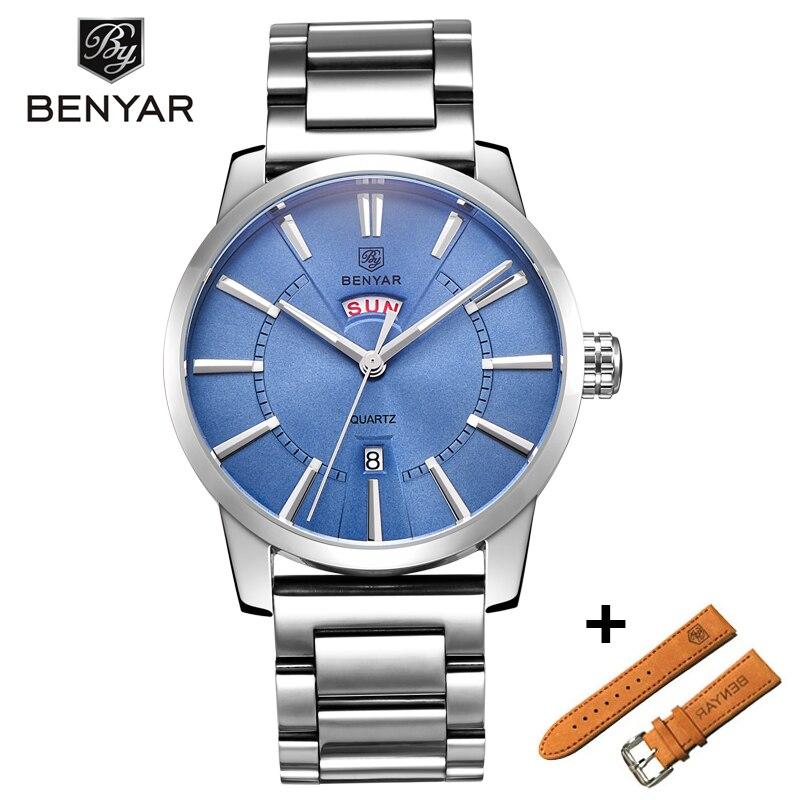 BENYAR Watches Set Men Business Quartz Watches Fashion Analog Luxury Male Leather Wristwatch Waterproof Clock Montre Homme