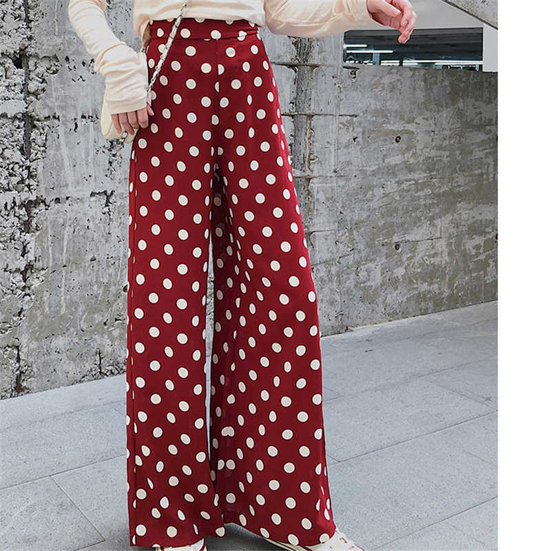 Retro wave point wide leg Pants Women 2019 Spring Summer New products Loose  High waist nine point Chiffon Straight trousers C114