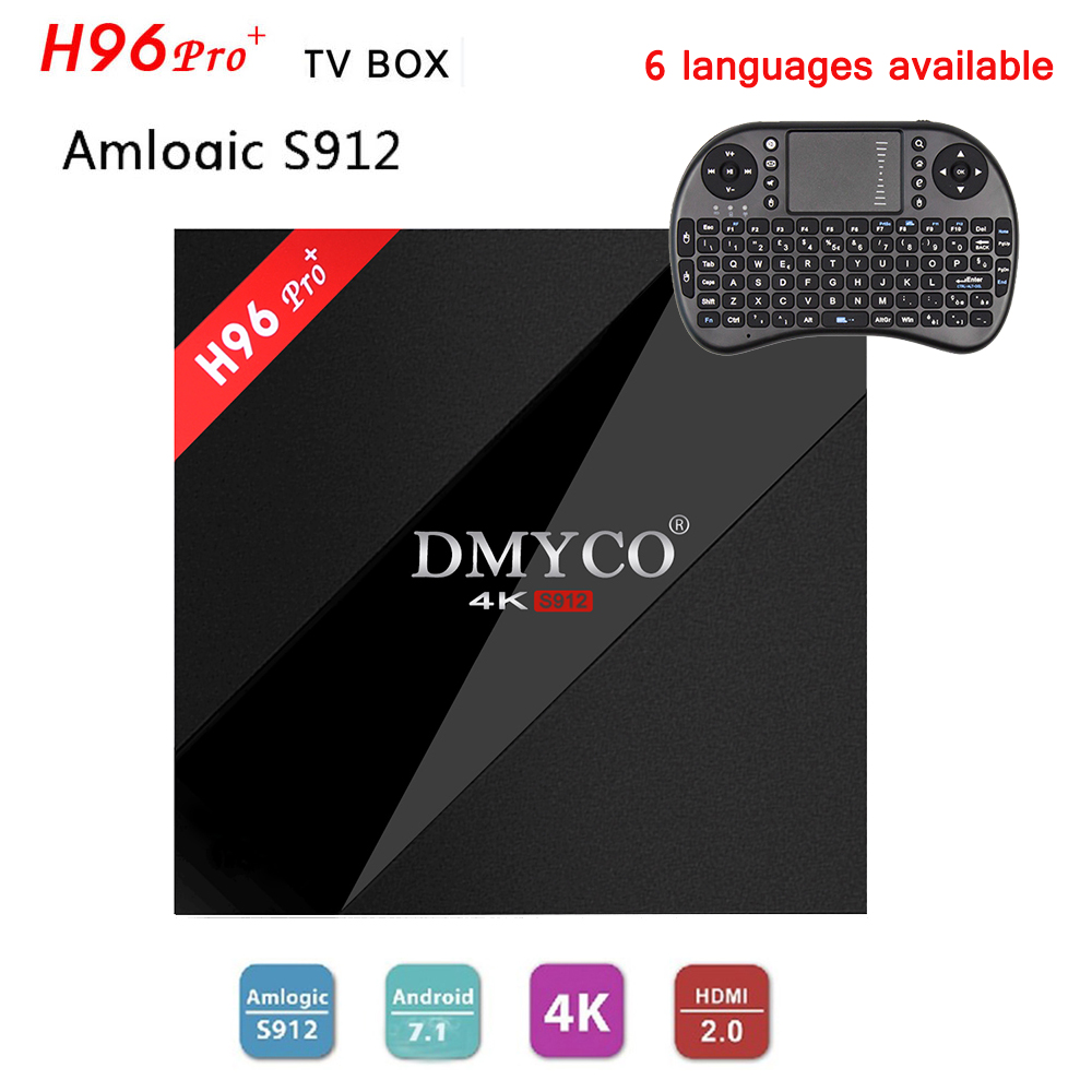 H96 Pro+ Plus Android 7.1 Smart TV Box Amlogic S912 4K Ultra HD H.265 Set-top Box+original i8 English/Russian/Spanish Keyboard r tv box pro amlogic s912 android 6 0 4k tv box rii i8 black